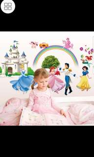 💟( $10 Each . 3 Design ) Winnie the pooh , Princess Prince , Snow White & Dwarf Children's room bedroom girl cute cartoon wall sticker decoration snow white romantic wall sticker Home decor