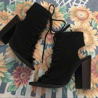 Forever 21 peep toe lace up boots