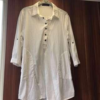 🚚 春夏必備單品、設計師七分袖白色長上衣