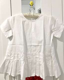 Cottonink White Peplum with Pleats Top