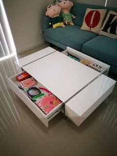 Coffee table - glossy white with storage drawer