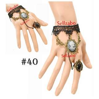 #40 Lace Bracelet Cum Ring Black Colour Sellzabo Hands Wrists Accessories Hari Raya Deepavali Muslim Muslimah Malays Indians