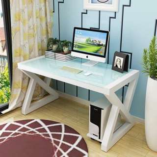 Office Desk White Tempered Glass White Frame OD-07C