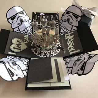 Stormtroopers explosion box with cake , 4 waterfall in black & silver