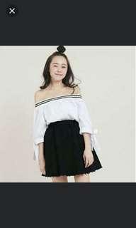 Frayed Hem High Waisted Skirt