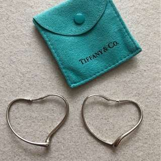 Tiffany Open Heart Hoop Earrings