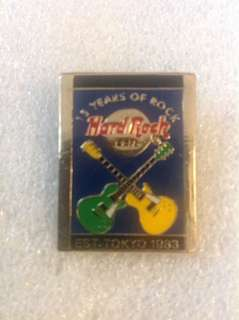 Hard Rock Cafe Pins - TOKYO HOT 15TH ANNIVERSARY BLUE RECTANGULAR WITH CROSSED GUITARS!
