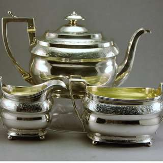 George III Sterling Silver Tea Set, London, 1805 by Napthali Hart