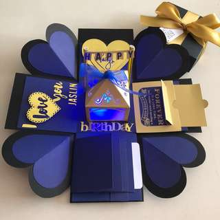 Explosion box with lighthouse , 4 waterfall in navy & gold