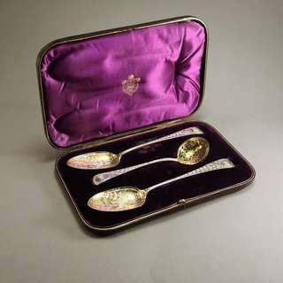 Antique Sterling Silver Serving spoons and sugar sifter, London 1791-92