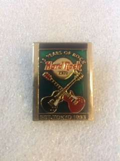 Hard Rock Cafe Pins - TOKYO HOT 15TH ANNIVERSARY GREEN RECTANGULAR WITH CROSSED GUITARS!