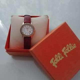 📣超值再次🈹價 $1,000 -> $800 [💯%Authentic] FOLLI FOLLIE Rose Gold-Plated Crystal Watch 玫瑰金晶鑽紅色皮手錶 (🎁另加附送原厰啡色皮手錶帶一條淨值$2xx)