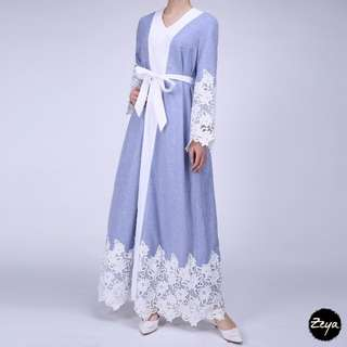 Soft Blue Lace Abaya(PO)