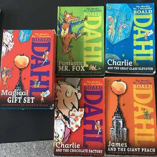 Roald Dahl Magical Gift Set (4 Books) : Charlie and the Chocolate Factory, James and the Giant Peach, Fantastic Mr. Fox, Charlie and the Great Glass Elevator