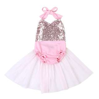 🌟INSTOCK🌟 Gold Sparkle Sequins with Pink Tulle Frock Halter Neck Onesie Kids PJ Newborn Toddler Baby Romper for girls