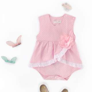 🌟INSTOCK🌟 Polka Baby Pink Layered Lace Sleeveless Onesie Kids PJ Newborn Toddler Baby Romper for girls