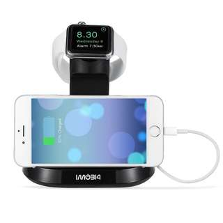 298.Apple Watch and iPhone Stand, iMobi4 Docking Charging Station & Holder 2 in 1 Dual Cradle for Apple Watch (38/42 mm) and iPhone 6 / 6s, 6 Plus/ 6s Plus, 5s, 5c, 5 - Black