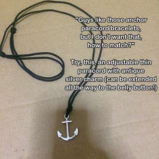 Anchor Thin Paracord Adjustable Necklace [gifts handmade uncle.anthony uncle anthony uac 2bump]
