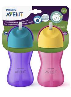 Philips Avent My Bendy Straw Cup, 10oz, 2pk, Pink/Purple