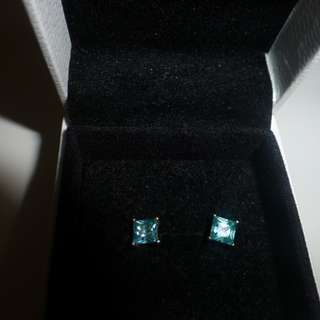 sterling silver and aquamarine stud earrings
