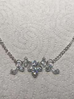 Handmade Clear & Silver Glitter Resin filigree necklace