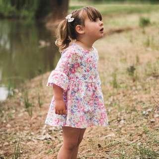 🌟INSTOCK🌟 Blue Pink Rose Floral Long Sleeves Kids Baby Romper Flare Dress for girls