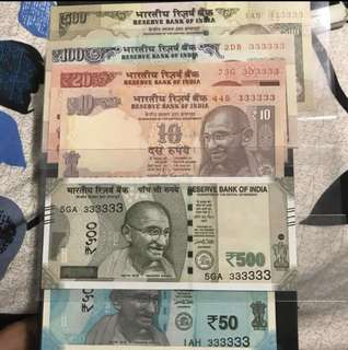 Unc Solid no :333333 with indian Old and new Notes! Mix denomination