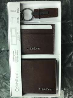 Authentic Calvin Klein Leather Gift Set Slimfold Wallet Card Case Key Fab Brown Color
