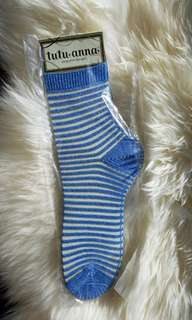 Blue striped see through socks