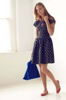 Anthropologie Navy with White Polka Dots Lili's Closet Dropped Work/Office Dress