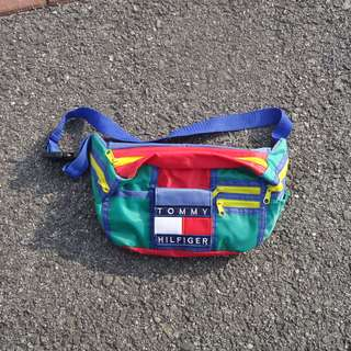 DIY Colour Block Fanny Pack with Tommy Hilfiger Patch RARE