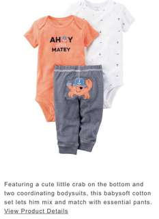 Brand new Carter's Baby Rompers Pants 18m pack of 3