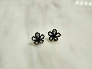 (環保價)突尼西亞黑水晶石花銀耳環Black crystal flower silver earrings studs