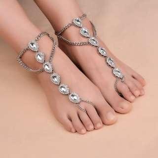 Crystal Slave Anklets - Silver Plating