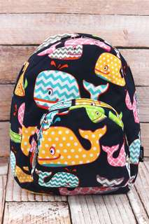 JUST ARRIVED! Whimsical Whale Small Backpack