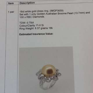 Golden Australian Broome pearl diamond ring - Handmade