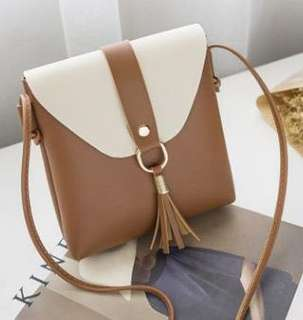 Shoulder Sling Bag w/ Tassel (Brown)