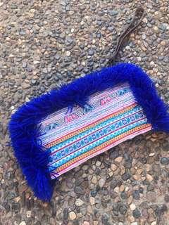 Embroidered sparkle tassel clutch bag