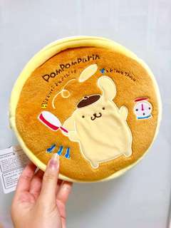 NEW! Sanrio Japan Pom Pom Purin Pompompurin Pancake Plush Zip Hotcake Roomy Pouch Bag