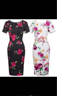 Vintage Floral Pattern Short Sleeve Dress