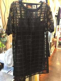 🚚 真兩件 黑色透膚裙 裙長80cm