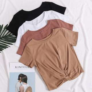 Round Neck Knot Front Tee