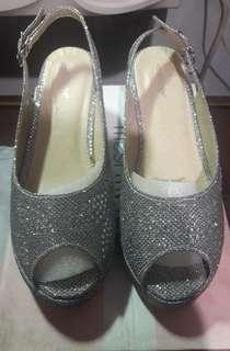 Silver Peep-Toe Wedges