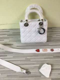 Dior Mini Bag White Color With Buckle Strap