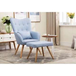 Accent Chair w/ Foot Rest OS-09A Blue