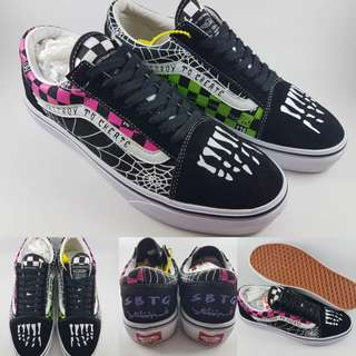 Sepatu Kets Skate Vans Old Skool SBTG Destroy to Create Black Pink Green Hitam