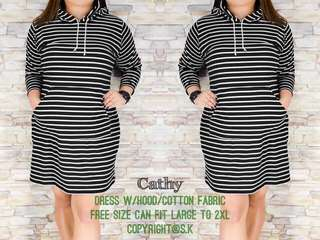 Plus size dress with hood