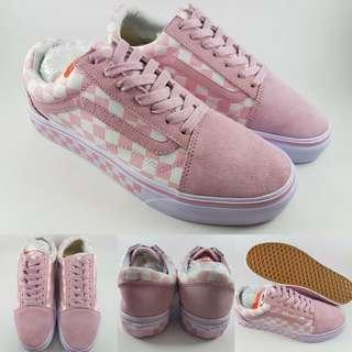 Sepatu Kets Skate Vans Old Skool Checkerboard Catur Pro Pink