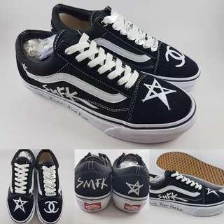 Sepatu Kets Skate Vans Old Skool SMFK Paris Black White Hitam Putih