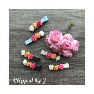 Handmade Hair Clips - Paper Roses